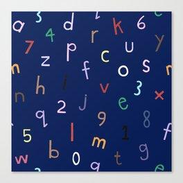 Synaesthesia Alphabet Navy Canvas Print