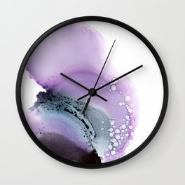 Abstract composition in purple and grey Wall Clock