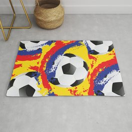 Football Ball and red, blue and yellow Strokes Rug
