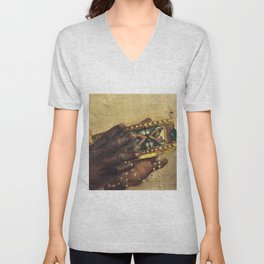 African American Masterpiece 'The Last Nubian King' by W. Wahaf Unisex V-Neck