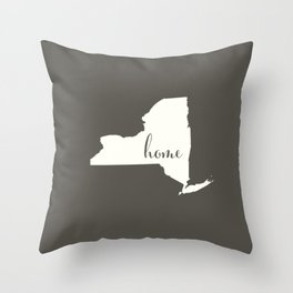 New York is Home - White on Charcoal Throw Pillow