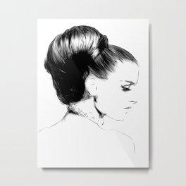 Woman Portrait Fashion Minimal Drawing Metal Print