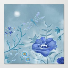 Blue Dragonfly Floral Canvas Print