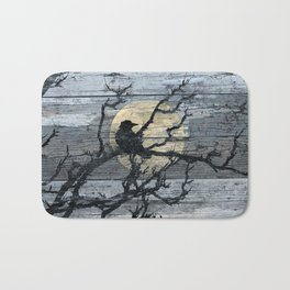 Rustic Crow Blue Grey Wood Type Cottage Chic Country Decor Barn Art A015 Bath Mat