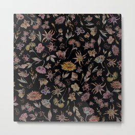 Botanical Study- Dark Colorway Metal Print