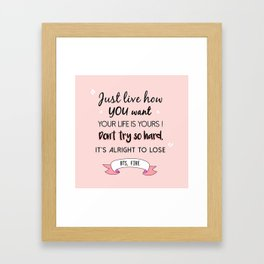 BTS Quote Framed Art Print