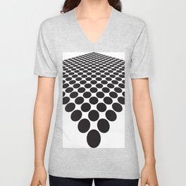 BLACK DOTS ON A WHITE BACKGROUND Abstract Art Unisex V-Neck