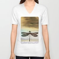 dragonfly V-neck T-shirts featuring DRAGONFLY  by Pia Schneider [atelier COLOUR-VISION]