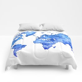 Cobalt blue watercolor world map Comforters
