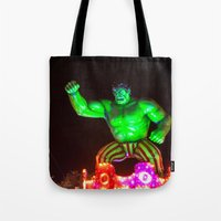 hulk Tote Bags featuring Hulk by Roser Arques