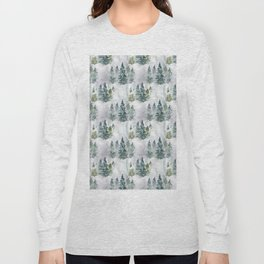 Watercolor forest green snow Christmas pine tree Long Sleeve T-shirt