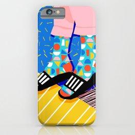 Demo - memphis retro 80s throwback hightop socks styles bright happy art slides iPhone Case