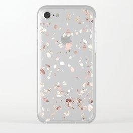 Blush Pink + Rose Gold Terrazzo Clear iPhone Case