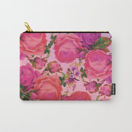 Sun Bleached Rose Print Carry-All Pouch