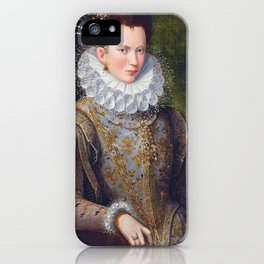 Portrait of Court Lady with Dog by Lavinia Fontana iPhone Case