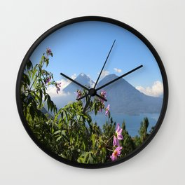Lago Atitlan and flowers Wall Clock