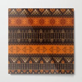 Orange & Black Boho Geometric Pattern Metal Print