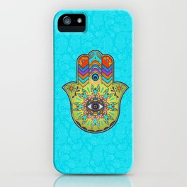 Colorfull  Hamsa Hand with paisley iPhone Case
