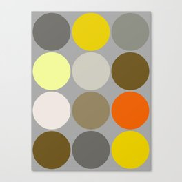 Mid-Century Giant Dots, Gray, Gold and Orange Canvas Print