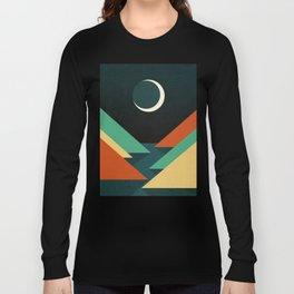 Quiet stream under crescent moon Long Sleeve T-shirt