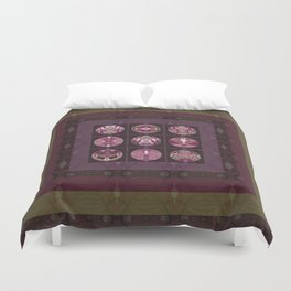 Red Shiso Positive Messages Quilt Art Duvet Cover