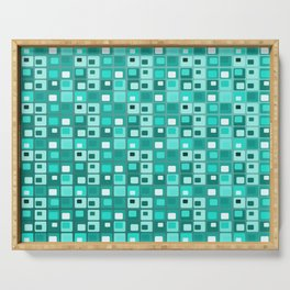 Retro Mid Century Modern Teal Square Pattern Serving Tray