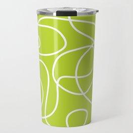 Doodle Line Art | White Lines on Bright Lime Green Travel Mug