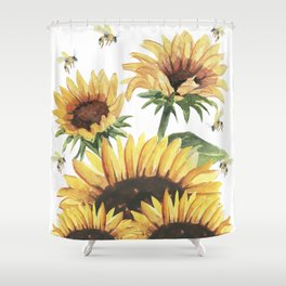 Sunflowers and Honey Bees Shower Curtain