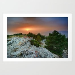 Sunset at the mountains. Under the rain Art Print