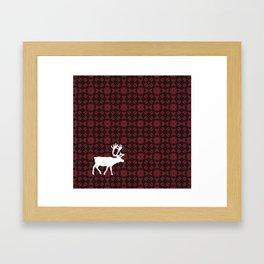 Caribou Cutout (Cranberry Harvest pattered version 2) Framed Art Print