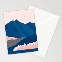 Mt Cook New Zealand Geometric Mountain Art Stationery Cards