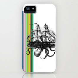 Kraken Attacking ship on Colorful Stripes iPhone Case