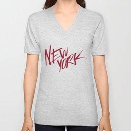 New York Hand Lettering Type Unisex V-Neck