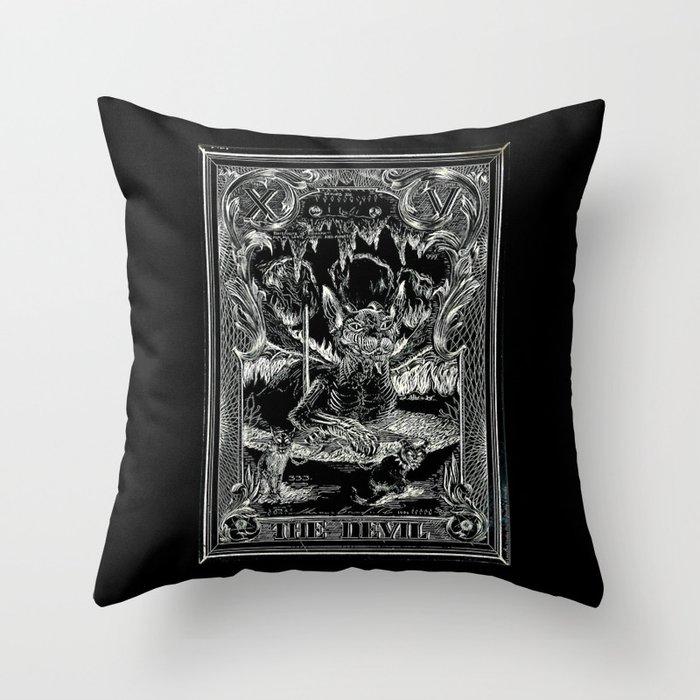THE DEVIL of Tarot Cats Throw Pillow