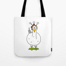 Eglantine la poule (the hen) dressed up as an alien. Tote Bag