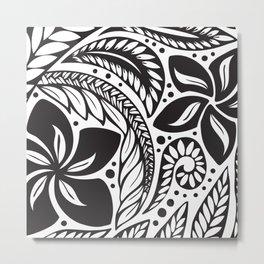Circular Polynesian Black Floral Tattoo Metal Print