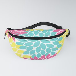 Pink Yellow Turquoise Flowers, Flower Burst, Floral Pattern, Flower Petals Fanny Pack