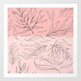 pink and black leaves Art Print