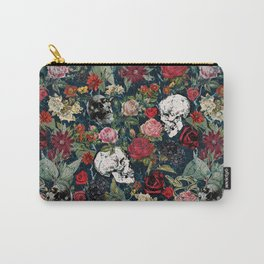 Distressed Floral with Skulls Pattern Carry-All Pouch