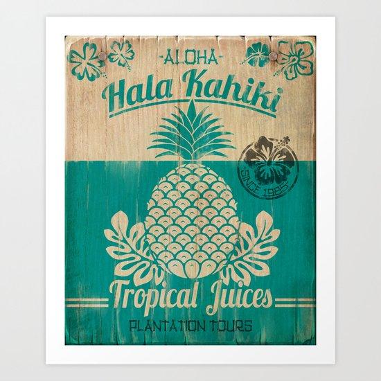 Hala Kahiki Juice Stand wooden board. Art Print
