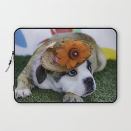English Bulldog Puppy Wearing a Straw Hat with Bright Orange Flower for Spring Laptop Sleeve