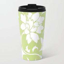 Oriental Flower - Daiquiri Green Circular Pattern Travel Mug