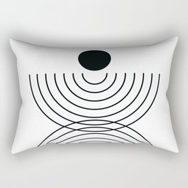 Geometric Lines in White and Black 6 (Rainbow and Sun Abstraction) Rectangular Pillow