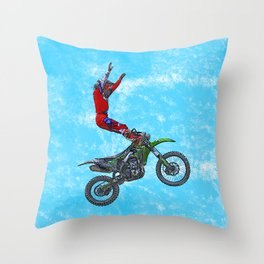 MotoCross Aerial Foot Grab Sports Stunt Throw Pillow