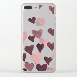 Valentine's Day Watercolor Hearts - dark pink Clear iPhone Case