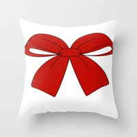 bow Throw Pillows featuring bow by  MuDi