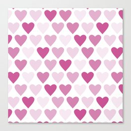 Cute heart seamless vector pattern in pink Canvas Print