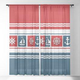 Nautical symbols Sheer Curtain