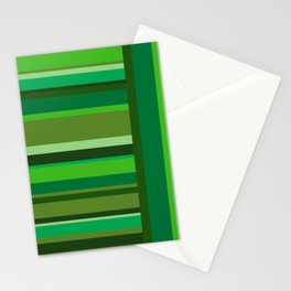 Vertical and Horizontal Stripes Green Stationery Cards