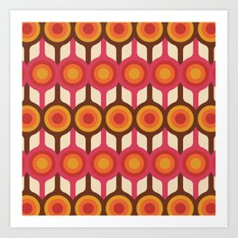 Magenta, Orange, Ivory & Brown Retro 1960s Circle Pattern Art Print